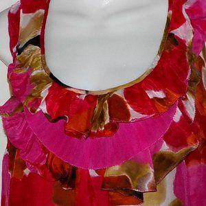 Ann Taylor LOFT dress sz XS 0 2 red multi floral